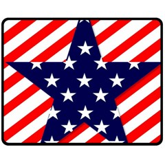 Patriotic Usa Stars Stripes Red Double Sided Fleece Blanket (Medium)