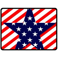 Patriotic Usa Stars Stripes Red Double Sided Fleece Blanket (Large)