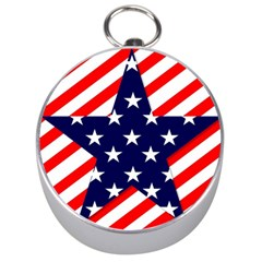 Patriotic Usa Stars Stripes Red Silver Compasses