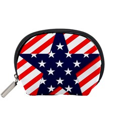 Patriotic Usa Stars Stripes Red Accessory Pouches (Small)