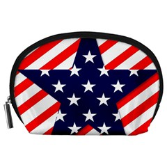 Patriotic Usa Stars Stripes Red Accessory Pouches (Large)