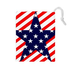 Patriotic Usa Stars Stripes Red Drawstring Pouches (Large)