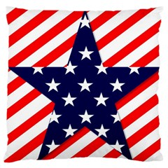 Patriotic Usa Stars Stripes Red Large Flano Cushion Case (Two Sides)