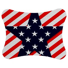 Patriotic Usa Stars Stripes Red Jigsaw Puzzle Photo Stand (Bow)