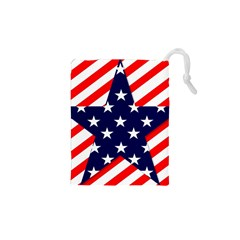 Patriotic Usa Stars Stripes Red Drawstring Pouches (XS)