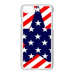 Patriotic Usa Stars Stripes Red Apple iPhone 7 Seamless Case (White)