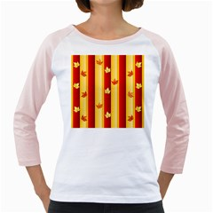 Autumn Fall Leaves Vertical Girly Raglans