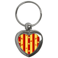 Autumn Fall Leaves Vertical Key Chains (heart)  by Celenk