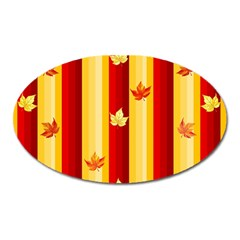Autumn Fall Leaves Vertical Oval Magnet