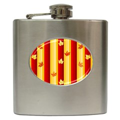 Autumn Fall Leaves Vertical Hip Flask (6 Oz) by Celenk