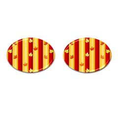 Autumn Fall Leaves Vertical Cufflinks (oval)