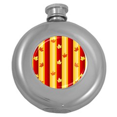 Autumn Fall Leaves Vertical Round Hip Flask (5 Oz) by Celenk