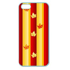 Autumn Fall Leaves Vertical Apple Seamless Iphone 5 Case (color) by Celenk