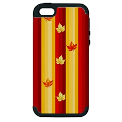 Autumn Fall Leaves Vertical Apple Iphone 5 Hardshell Case (pc+silicone) by Celenk