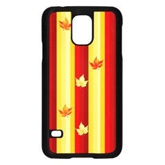 Autumn Fall Leaves Vertical Samsung Galaxy S5 Case (black) by Celenk