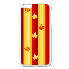 Autumn Fall Leaves Vertical Apple Iphone 6 Plus/6s Plus Enamel White Case by Celenk