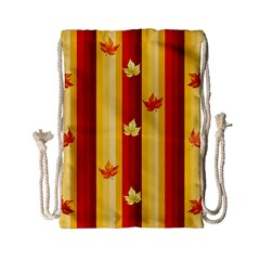 Autumn Fall Leaves Vertical Drawstring Bag (small) by Celenk