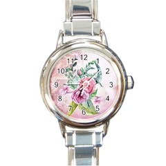 Flowers And Leaves In Soft Purple Colors Round Italian Charm Watch