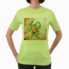 Flowers And Leaves In Soft Purple Colors Women s Green T-shirt by FantasyWorld7