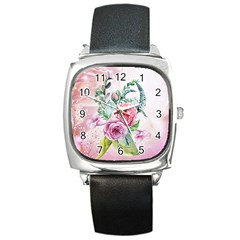 Flowers And Leaves In Soft Purple Colors Square Metal Watch by FantasyWorld7