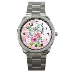 Flowers And Leaves In Soft Purple Colors Sport Metal Watch