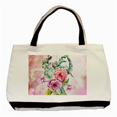 Flowers And Leaves In Soft Purple Colors Basic Tote Bag (two Sides) by FantasyWorld7