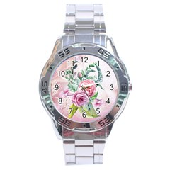 Flowers And Leaves In Soft Purple Colors Stainless Steel Analogue Watch by FantasyWorld7
