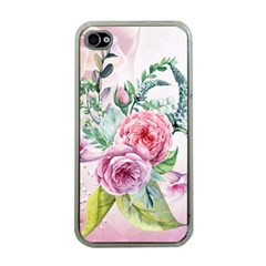 Flowers And Leaves In Soft Purple Colors Apple Iphone 4 Case (clear) by FantasyWorld7