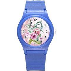 Flowers And Leaves In Soft Purple Colors Round Plastic Sport Watch (s) by FantasyWorld7