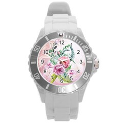 Flowers And Leaves In Soft Purple Colors Round Plastic Sport Watch (l) by FantasyWorld7