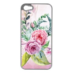 Flowers And Leaves In Soft Purple Colors Apple Iphone 5 Case (silver) by FantasyWorld7