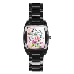 Flowers And Leaves In Soft Purple Colors Stainless Steel Barrel Watch by FantasyWorld7