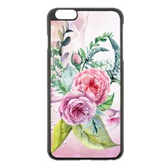 Flowers And Leaves In Soft Purple Colors Apple Iphone 6 Plus/6s Plus Black Enamel Case by FantasyWorld7