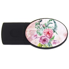 Flowers And Leaves In Soft Purple Colors Usb Flash Drive Oval (2 Gb) by FantasyWorld7