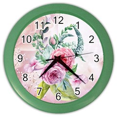 Flowers And Leaves In Soft Purple Colors Color Wall Clocks by FantasyWorld7