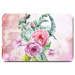 Flowers And Leaves In Soft Purple Colors Large Doormat