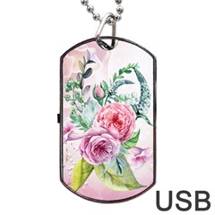 Flowers And Leaves In Soft Purple Colors Dog Tag Usb Flash (one Side) by FantasyWorld7