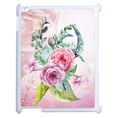 Flowers And Leaves In Soft Purple Colors Apple Ipad 2 Case (white) by FantasyWorld7