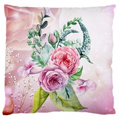 Flowers And Leaves In Soft Purple Colors Large Cushion Case (one Side) by FantasyWorld7