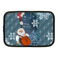 Funny Santa Claus With Snowman Netbook Case (medium)  by FantasyWorld7