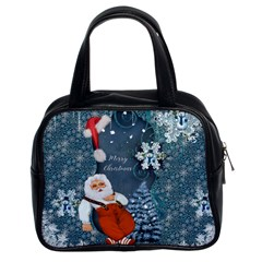 Funny Santa Claus With Snowman Classic Handbags (2 Sides) by FantasyWorld7