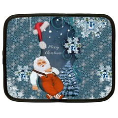 Funny Santa Claus With Snowman Netbook Case (xxl)  by FantasyWorld7