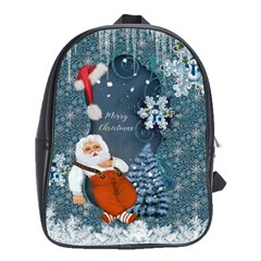 Funny Santa Claus With Snowman School Bag (large) by FantasyWorld7