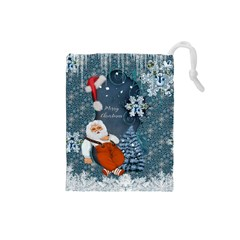 Funny Santa Claus With Snowman Drawstring Pouches (small)  by FantasyWorld7