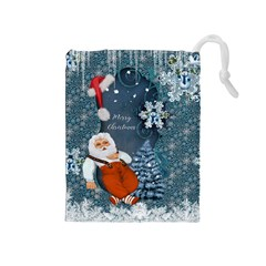Funny Santa Claus With Snowman Drawstring Pouches (medium)  by FantasyWorld7