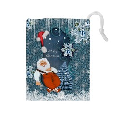 Funny Santa Claus With Snowman Drawstring Pouches (large)  by FantasyWorld7