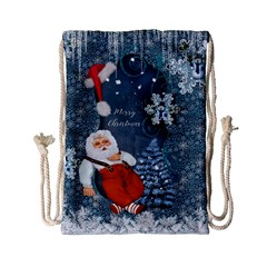 Funny Santa Claus With Snowman Drawstring Bag (small) by FantasyWorld7