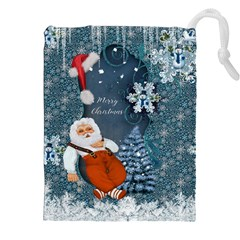 Funny Santa Claus With Snowman Drawstring Pouches (xxl) by FantasyWorld7