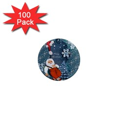 Funny Santa Claus With Snowman 1  Mini Magnets (100 Pack)  by FantasyWorld7