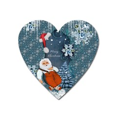 Funny Santa Claus With Snowman Heart Magnet by FantasyWorld7